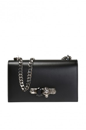 'jewelled satchel'  shoulder bag with a logo od Alexander McQueen