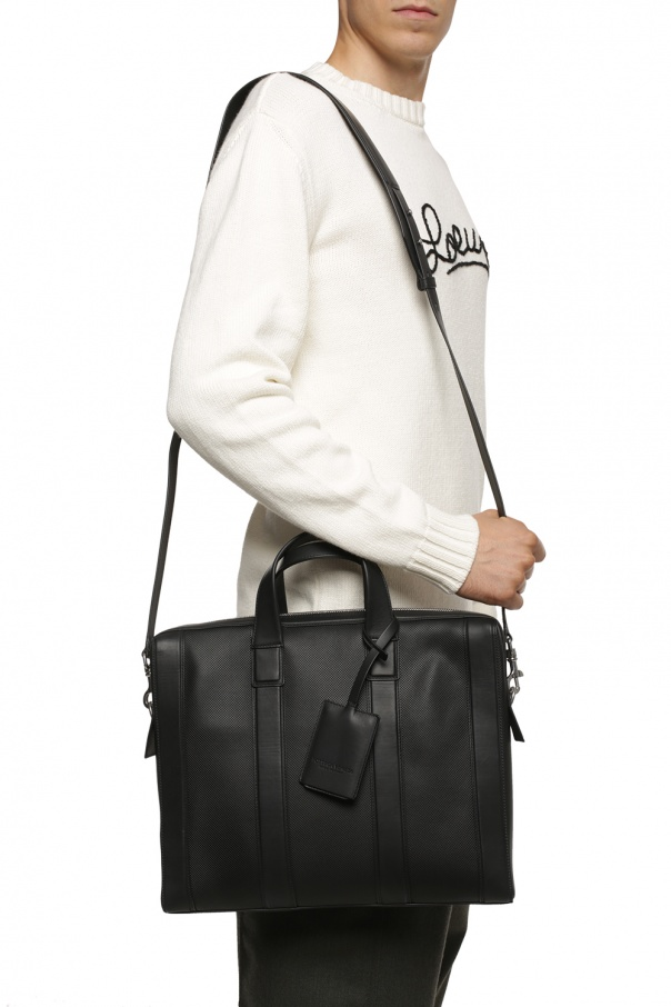 Logo-embossed briefcase od Bottega Veneta