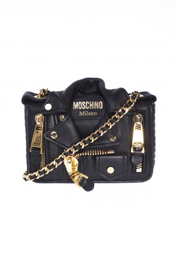 a0133f4f2 Leather Shoulder Bag with Biker Jacket Motif Moschino - Vitkac shop ...