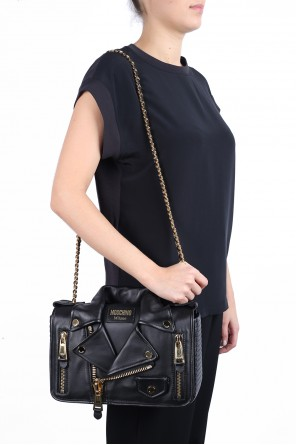 Leather shoulder bag with biker jacket motif od Moschino