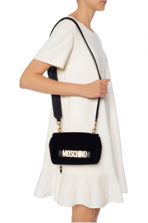 Quilted shoulder bag with a logo od Moschino