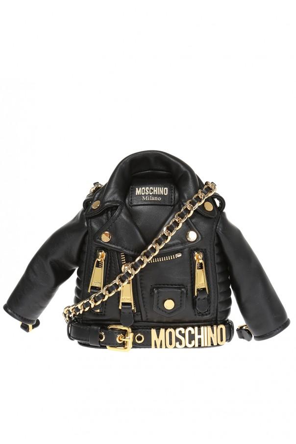 d98944daa63e3 Skórzana torba na ramię z motywem ramoneski Moschino - sklep ...
