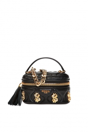 Quilted shoulder bag with fringes od Moschino