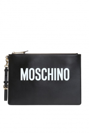 Clutch bag with printed logo od Moschino