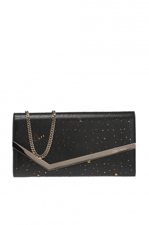 Clutch bag with a star motif and a logo od Jimmy Choo