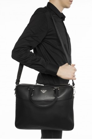 Briefcase with metal logo od Emporio Armani