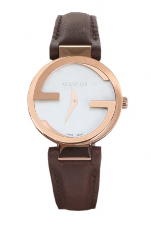 'interlocking' watch on leather strap od Gucci