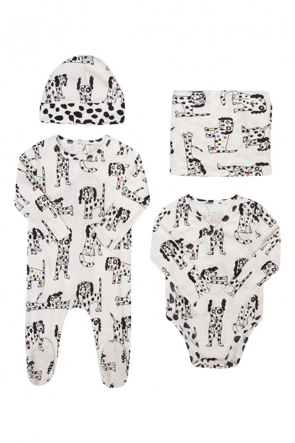 Stella McCartney Kids Hat, body, jumpsuit & blanket set